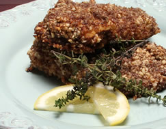 Diabetic Chicken Crusted with Almond and Flax Recipe from Diabetic Gourmet Magazine. DiabeticGourmet.com
