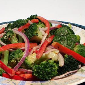 Diabetic Broccoli Salad with Peanut Dressing Recipe from Diabetic Gourmet Magazine. DiabeticGourmet.com