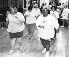 Photo of an aerobics class of women exercising