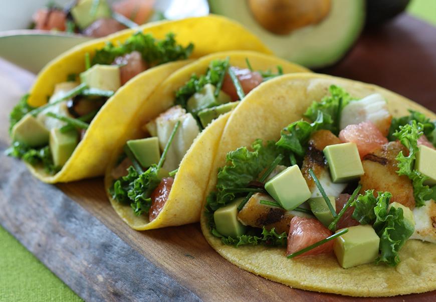 Fish Tacos with California Avocado, Grapefruit and Toasted Ancho Salsa Recipe Photo - Diabetic Gourmet Magazine Recipes