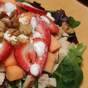 Cantaloupe and Strawberry Salad with Chicken