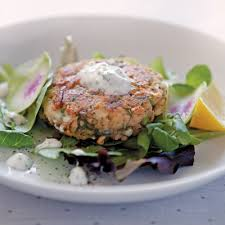 Alaska Salmon Cakes with Yogurt Dill Sauce Recipe Photo - Diabetic Gourmet Magazine Recipes