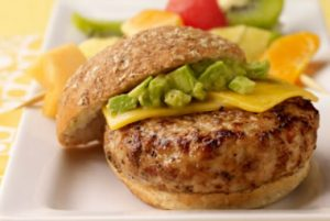Avocado Turkey Burger recipe photo from the Diabetic Gourmet Magazine diabetic recipes archive.
