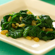 Baby Spinach With Golden Raisins and Pine Nuts Recipe Photo - Diabetic Gourmet Magazine Recipes