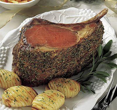 Beef Rib Roast with Lemon Glazed Carrots and Rutabagas