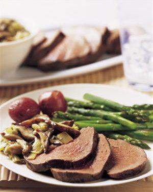 Beef Tenderloin Marsala with Shiitake-Leek Compote
