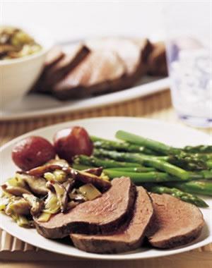 Beef Tenderloin Marsala with Shiitake-Leek Compote Recipe Photo - Diabetic Gourmet Magazine Recipes