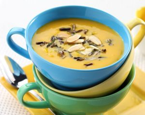 Butternut Squash and Apple Soup with Toasted Almonds and Wild Rice recipe photo from the Diabetic Gourmet Magazine diabetic recipes archive.