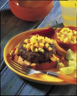 Caribbean Beef Burgers with Mango Salsa