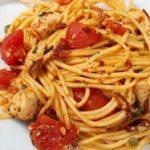 Chicken Puttanesca with Spaghetti