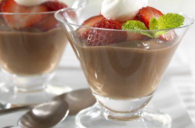 Chocolate Pudding with Fresh Strawberries