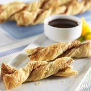 Cinnamon Twists with Chocolate Dipping Sauce recipe photo from the Diabetic Gourmet Magazine diabetic recipes archive.