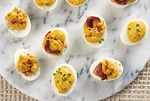 Deviled Eggs with Bacon & Barbecue