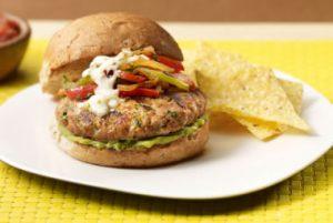 Fajita Turkey Burger recipe photo from the Diabetic Gourmet Magazine diabetic recipes archive.