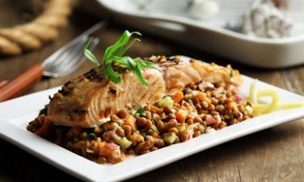 Grilled Salmon Over Lentil Salad with Walnut Vinaigrette