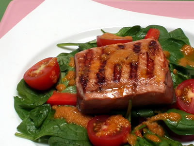 Grilled Salmon and Spinach Salad Recipe Photo - Diabetic Gourmet Magazine Recipes