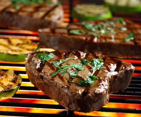Grilled Tuna Steaks with Cilantro and Basil