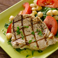 Grilled Tuna With Chickpea and Spinach Salad