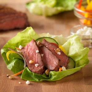 Inside-Out Grilled Steak Salad recipe photo from the Diabetic Gourmet Magazine diabetic recipes archive.