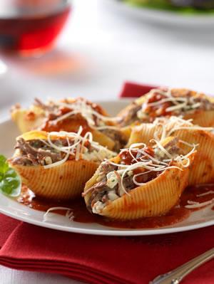Italian beef stuffed shells marinara diabetic recipe diabetic italian beef stuffed shells marinara diabetic recipe diabetic gourmet magazine forumfinder Choice Image