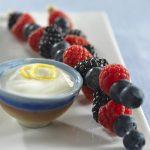 Mixed Berry Kebabs with Lemon-Ginger Yogurt Dip