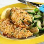 Parmesan-Crusted Halibut with Spicy Brussels Sprouts