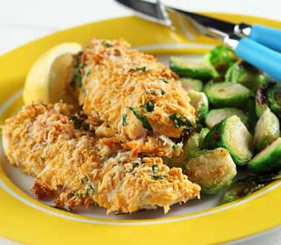 Parmesan-Crusted Halibut with Spicy Brussels Sprouts Recipe Photo - Diabetic Gourmet Magazine Recipes