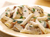 Penne and Chicken with Garlic Cream Sauce
