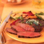 Pepper Beef Steak with Garlic-Cilantro Butter