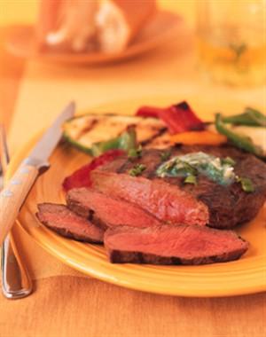 Pepper Beef Steak with Garlic-Cilantro Butter Recipe Photo - Diabetic Gourmet Magazine Recipes