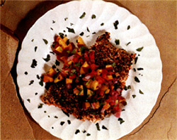 Pepper Crusted Salmon with Fruit Salsa