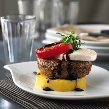 Polenta Caprese Burgers Recipe Photo - Diabetic Gourmet Magazine Recipes