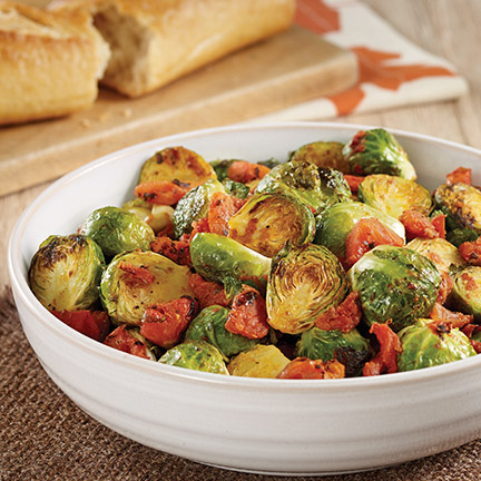 Roasted Brussels Sprouts with Tomatoes Recipe Photo - Diabetic Gourmet Magazine Recipes