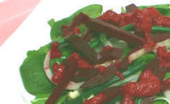 Spinach Salad with Creamy Beet Dressing Recipe Photo - Diabetic Gourmet Magazine Recipes