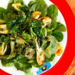 Spinach Salad with Seared Bok Choy, Ginger and Cilantro