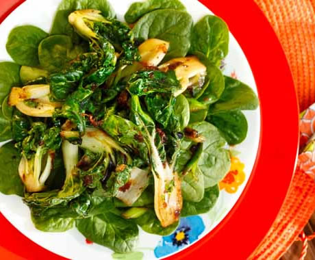 Spinach Salad with Seared Bok Choy, Ginger and Cilantro Recipe Photo - Diabetic Gourmet Magazine Recipes
