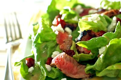 Steak Salad with Cherries and Goat Cheese