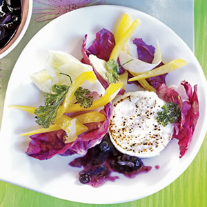 Summer Salad with Goat Cheese and Wild Blueberry Sauce Recipe Photo - Diabetic Gourmet Magazine Recipes
