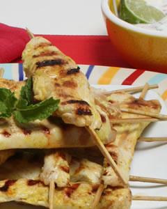 Tandoori Chicken Skewers with Mint Raita