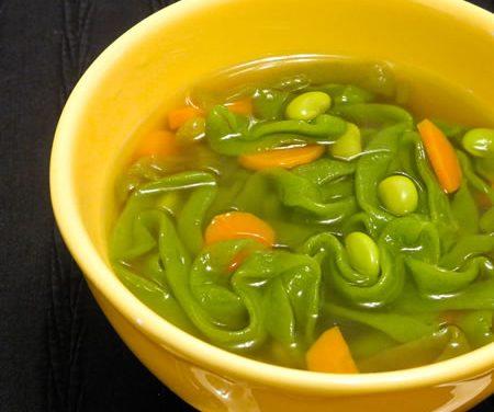 Vegetable Soup with Shirataki and Edamame