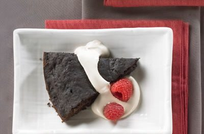 Warm Brownie Wedges With Java Cream