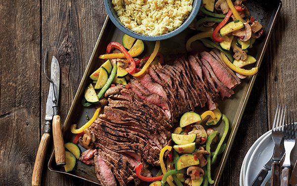 Grilled Southwestern Steak and Colorful Skillet Vegetables