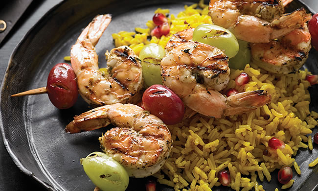 Zahtar Shrimp and Grape Kabobs Recipe Photo - Diabetic Gourmet Magazine Recipes