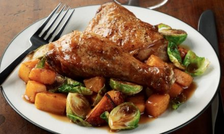 Maple Dijon Chicken with Brussels Sprouts and Butternut Squash